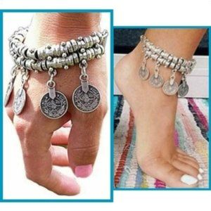 Jewelry - NWT Silver Boho Coin Statement Bracelet / Anklet